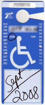 Disabled parking placards