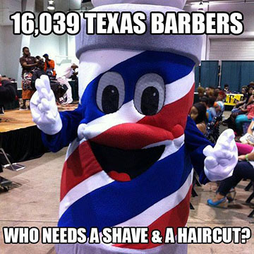 barber pole mascot photo