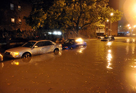photo of cars under water on city street