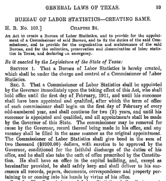Image of House Bill 109 from the 31st Texas Legislature, authorizing the creation of the Texas Bureau of Labor Statistics