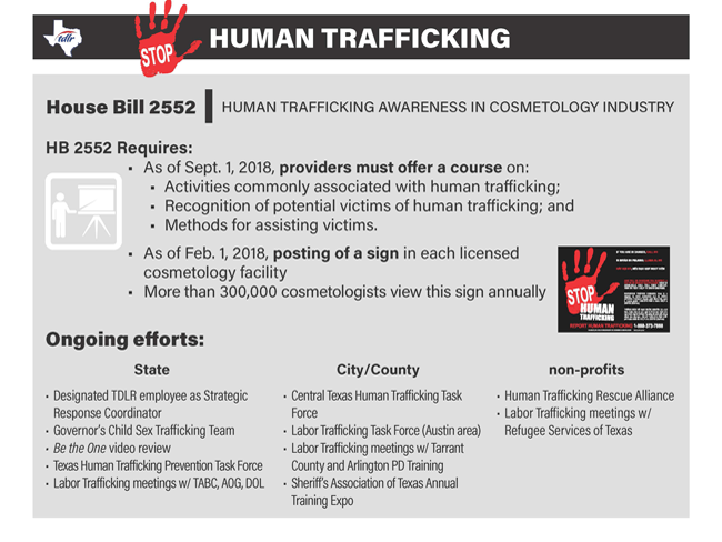 Human Trafficking Awareness in Cosmetology Infographic